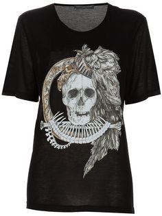 Black T-shirt from Alexander McQueen featuring a large white detailed skull print.