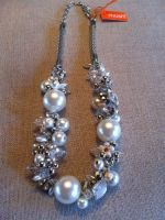 NECKLACE AUDREY, BEADS, STRASS & SILVER