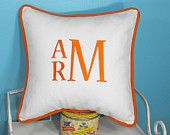 Large Font Monogrammed Chevron Pillow Cover - Choice of Colors - 16 x 16 square. $43.00, via Etsy.