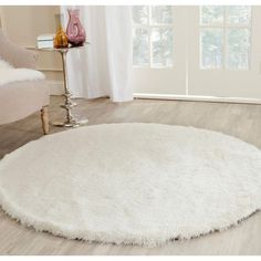 Safavieh Paris Shag Ivory 5 ft. x 5 ft. Round Area Rug