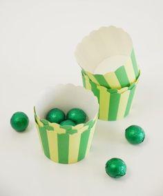 Caissettes cupcakes en papier à rayures Vert