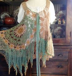 Magnolia Sea Pearl and Daisy Crochet Tunic by Luv Lucy | eBay