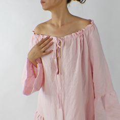 Short Raglan Linen Night Dress