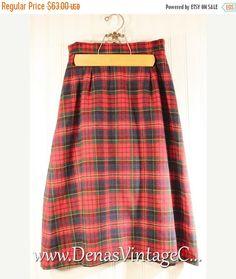 SALE 60% OFF Vintage 80's Pendleton Authentic Tartan Plaid Wool Skirt Size XS/S