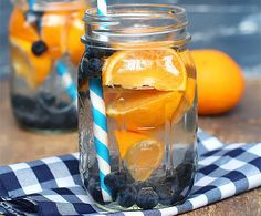 This delicious infused water combines tropical citrus flavor with blueberries. It is perfect for hot days or after working out at the gym!