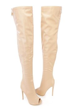 These sexy and stylish single sole thigh high boots are a must have this season! The features include a nubuck faux leather upper with a peep toe, center seaming, back zipper closure, smooth lining and cushioned footbed. Approximately 5 inch heels, 18 1/2 inch circumference, and 24 shaft.