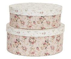 Set di 2 scatole tonde in carta soizic multicolor - 28x28x33 cm