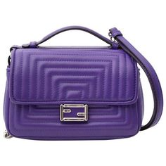 Preowned Fendi Purple Nappa Micro Double Baguette ($1,012) ❤ liked on Polyvore featuring bags, handbags, purple, quilted hand bags, chain handle handbags, handbags totes, purse tote and chanel tote