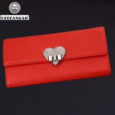 Special price New Fashion Women Ladies Red Soft Genuine Leather Clutch Female Wallet Long Card ZIpper Purse Handbag Birthday Bags just only $15.96 - 18.20 with free shipping worldwide  #womanwallets Plese click on picture to see our special price for you
