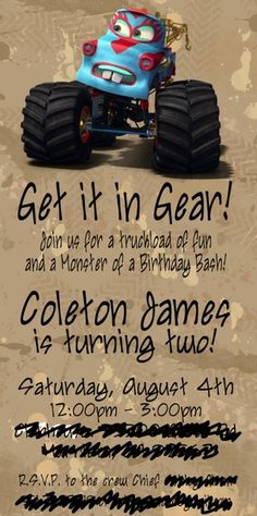 monster truck mater bday party invite