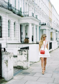 mini red sling bag with white Dress