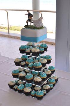 Beach Cupcake Wedding Cakes | Beach themed aqua blue wedding cupcakes | Flickr - Photo Sharing!