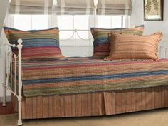 Greenland Home Fashions Katy Striped Cotton/Microfiber Polyester Daybed Set - Overstock Shopping - The Best Prices on Daybed Covers