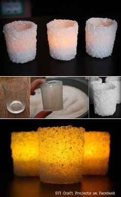 DIY Winter White Candle holder- use any fine white material (even coarse salt would work) and a Candle Impressions flameless tea light