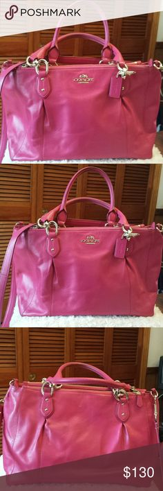 Coach Pink Leather Satchel /Xbody Bag Coach Pink Leather Pleated Satchel and Crossbody Bag, Tag included, Zippered Closure, 3 Compartments,, Zip pocket inside, 2 Slip pockets inside, some marks on leather and straps see pic, Good condition Coach  Bags Satchels