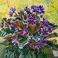 Violets  autumn Print by Victoria Kharchenko