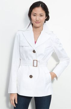 I want a white raincoat!!!  Ellen Tracy Single Breasted Trench Coat (Nordstrom Exclusive) available at #Nordstrom