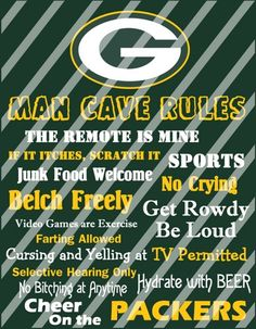 Green Bay Packers Man Cave Rules Wall Sign Printable Digital File