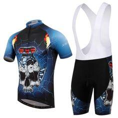 Men's Blue Skull Short Sleeve Cycling Jersey Set #Cycling #CyclingGear #CyclingJersey #CyclingJerseySet