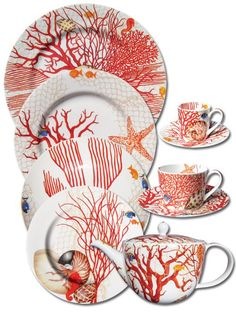 Beautiful Diningware collection in RED Coral. Coral Painting, China Painting, Ceramic Painting, Underwater Art, China Art, China Patterns, Surface Pattern Design, Plates On Wall, Coastal Decor