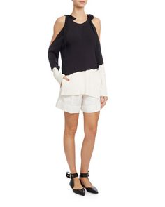Tied+Cold-Shoulder+Colorblock+Sweater,+Dark+Blue/White+by+Monse+at+Neiman+Marcus.