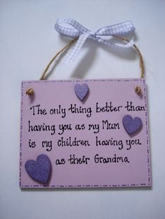 Mum / Grandma plaque from Samigail's Handmade Personalised Gifts.