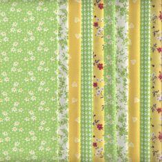 Stoffpaket (Grün und Gelb)   10 Stoffe   100% Baumwolle   46 x 56 cm