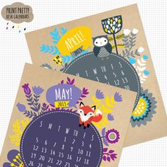 Printable 2013 Calendar - KRAFT version. $8 by Print Pretty Blog on @Etsy
