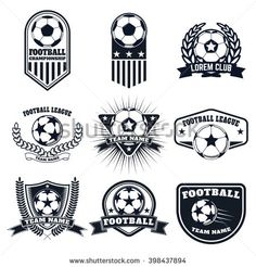 Set of the football labels, emblems and design elements. Soccer team emblems.