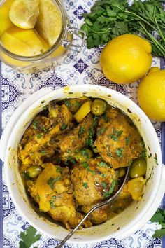 Moroccan Chicken Tagine Recipe - w/ Preserved Lemons & Olives - This Moroccan Chicken Tagine is bursting with flavor! Infused with saffron and flavored with preserved lemons, it's guaranteed to become your favorite! Morrocan Food, Moroccan Dishes, Tajin Recipes, Lemon Recipes, Saffron Recipes, Coctails Recipes, Dessert Recipes, Moroccan Chicken Tagine Recipe, Tagine Cooking
