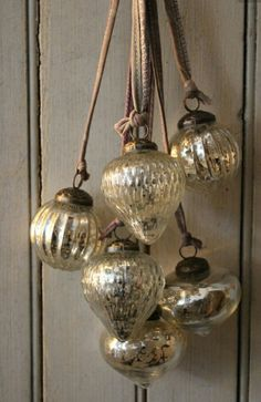 Mercury Glass Ornaments on Leather cords....