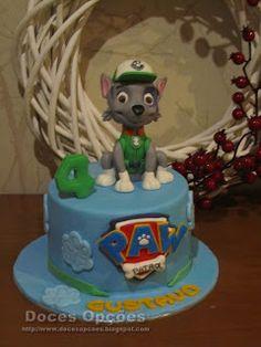 Doces Opções: Bolo de aniversário com o Rocky da Patrulha Pata Paw Patrol, Birthday Cake, Desserts, Food, Birthday Cakes, Decorating Cakes, Fiestas, Sweets, Tailgate Desserts