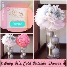 DIY - baby it's cold outside centerpieces - from dollar tree - big lots - paper centerpiece holiday christmas party silver and pink Paper Centerpieces, Baby Shower Centerpieces, Baby Shower Decorations, Christmas Baby Shower, Baby Shower Winter, Baby Shower Parties, Baby Shower Themes, Shower Ideas, Outside Baby Showers