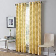 Herringbone 63-Inch Grommet Top Window Curtain Panel in Yellow