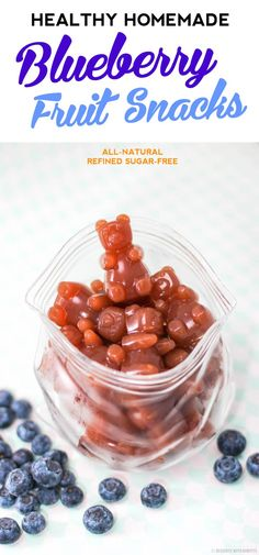 Healthy Homemade Blueberry Fruit Snacks Just like Welchs but without the sugar highfructose corn syrup and artificial food coloring all natural fat free refined sugar fre. Baby Food Recipes, Snack Recipes, Cooking Recipes, Homemade Gummies, Snacks Homemade, Welches Fruit Snacks, Healthy Snacks, Healthy Recipes, Detox Recipes