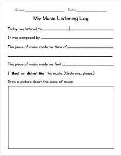 Primary Music Listening Worksheet. Could use something like this for a bell ringer.