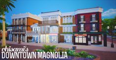 A large downtown area with 5 studio apartments, furnished shops including a bakery, restaurant, bookstore, cafe, music store, photography studio and more.