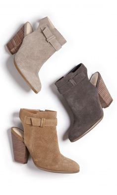 Genuine suede slingback booties with laser cut detailing, stitching, side buckle hardware, stacked heel and easy side zipper.
