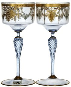 SIGNED MOSER PALE BLUE ART RHINE WINE GLASSES WITH ENAMEL GOLD STENCIL DECOR AND HOLLOW TWIST STEMS