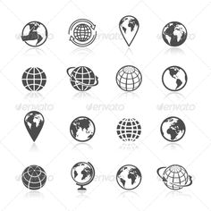 Globe Earth Icons - Globe black and white earth world globe symbol icons set vector illustration.Editable EPS and Render in JPG format | Buy and Download: http://graphicriver.net/item/globe-earth-icons/7675518?WT.ac=category_thumb&WT.z_author=macrovector&ref=ksioks