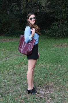 Leopard scarf, chambray shirt, and black skort via With Style and a Little Grace