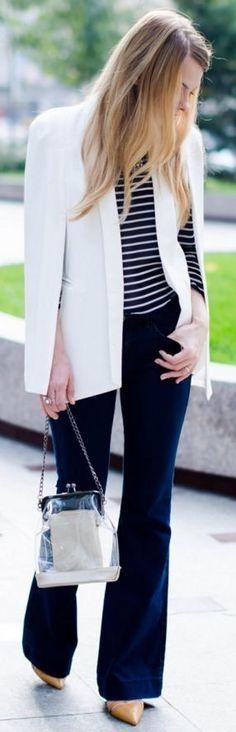 White cape blazer, sailor stripe sweater, flared jeans, camel pointed stilettos |Pink Wish #white