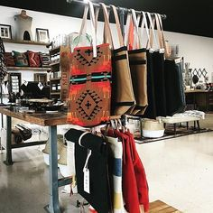 excited to have @burgundycircus tote bags, backpacks + ruck sacks in the shop! selvedge denim, duck canvas, striped blanket + southwest print.⚡open until 6 to see them for yourself! . . . #TKathome #burgundycircus #accessories #everydaycarry #selvedge #denim #backpack #rucksack #totebag #leathergoods #maker #southwest #aztec #shop vintagestyle #vintagehome #industrialdesign #livefolk #kansascity #kcmo #midwest