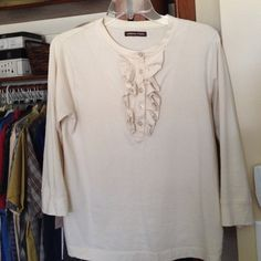 Very nice top with fun detail Nice essential tee dress up or down  3/4 sleeve no size but fits small Adrienne Vittadini Tops Tees - Short Sleeve