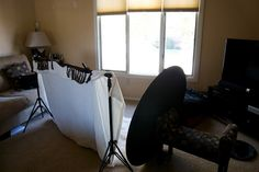Lighting setup using window and reflector.