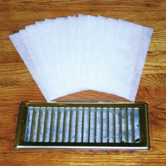 """dust control vent filters: Breathe easier and dust less often with these handy filters that fit easily into vents. Warm air from your furnace or cool air from your A/C will be filtered every time; will not affect air flow. Unscented polyester filters measure 4"""" x 10"""" and will last up to 12 weeks. Perfect for allergy sufferers! Controlling dust and pollen will also mean you'll be dusting less often!"""