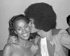 Janelle Commissiong, Miss Universe 1977 of Trinidad and Tobago (the first Black winner) with Michael Jackson.