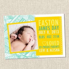 Geometric Pattern Custom Printable Baby Birth Announcement Card - EASTON - Coastal Yellow Teal Turquoise