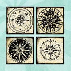 NAUTICAL COMPASSES Digital Collage Sheet - no. 0069, $3.99 :: Printable 1.5in or 1in squares. Vintage nautical compasses from antique maps. By Rowan Tree Design on Etsy.