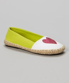 Another great find on #zulily! White & Lime Color Block Heart Flat by Chatties #zulilyfinds
